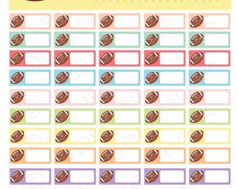 Kawaii Football Tracker Printable stickers,Any Planner Set, Planner Stickers, Erin Condren, Instant Download