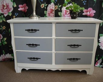 Mid Century Dresser Painted Furniture Bedroom Gray and White