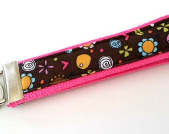 Whimsy Bright and Cheerful Flower and Heart Fabric on a Hot Pink Heavy Duty Cotton Webbing