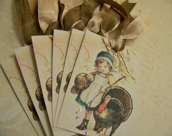 Thanksgiving Tags Autumn Tags Turkey Tags Ellen Clapsaddle Set of 6 or 9