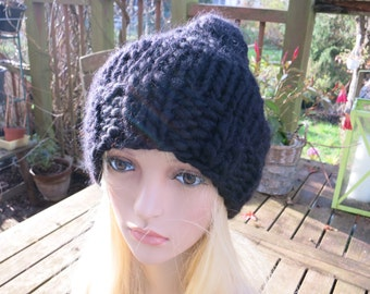 Knit Beanie Hat Black Elisa