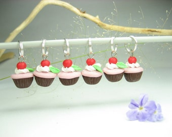 Cherry Cupcake Stitch Markers Set of 6, knit, knitting accessories, gift for knitters, cupcake charms, food gift, polymer clay, charms, cute