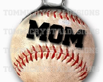 """1.5"""" Baseball MOM Soldered Art Collage Charm (also comes with no wording)"""