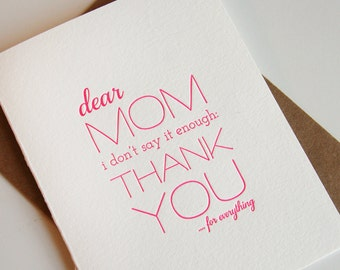 Letterpress Mother's Day card - Mom Thanks