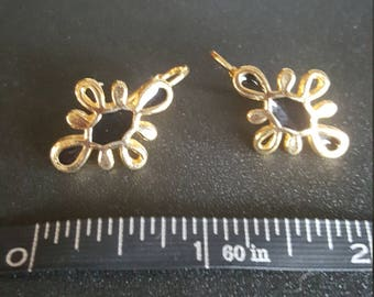 Gold and black scroll earrings