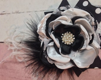 Black and white flower lace headbsnd  Stunning lace headband flowers, Black and white with pearls, lace, and rhinestones