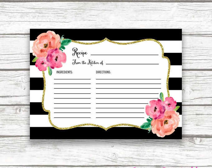 Black and White Stripe Floral Recipe Cards, Pink Gold Glitter Bridal Shower Recipe Card Invitation Insert, Wedding Bride, Instant Download