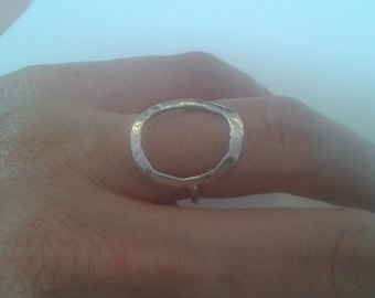 Hand made sterling silver oval ring