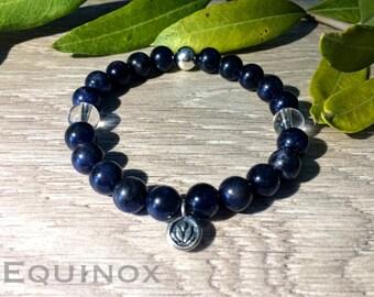 Sodalite Sterling Silver Bracelet / Sodalite / Quartz / 925 Sterling Silver  / 8mm Natural Gemstone Bracelet