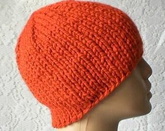 Orange beanie hat, winter hat, toque, beanie hat, orange hat, mens womens knit hat, chunky knit hat, orange knit hat, hiking snowboard hat