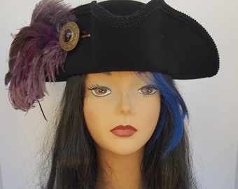 Black and dusty purple Pirate, Steampunk, Marie Antoinette, Gothic tricorn