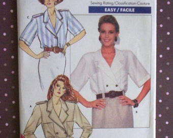 Vintage 1980s Sewing Pattern - Butterick 6017 - Misses' Blouse (Size 14-16-18) - Sewing Supplies
