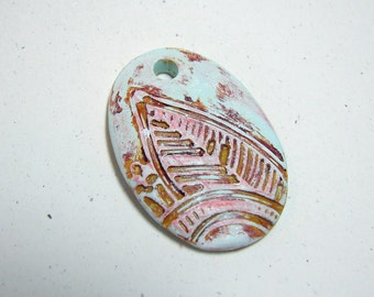 Leaf Pendant Handmade Polymer Clay Mint Green Tan Pink Textured