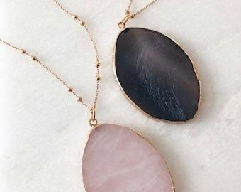 Rose Quartz Natural Stone Metal Necklace