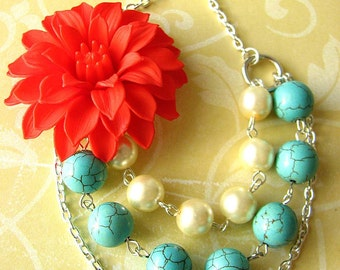 Statement Necklace Turquoise Jewelry Multi Strand Necklace Bib Necklace Flower Necklace Red Necklace