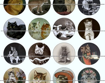 Cat Magnets~Victorian Cat Magnets~Victorian Cat Pins~Cat Pins~Fridge Magnets~Party Favors~Gift Set~Cat Lover Gift