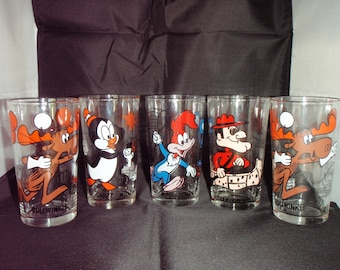 Vintage Pepsi Cartoon Glassware Tumblers Bullwinkle Chilly Willy Woody Woodpecker 1970s