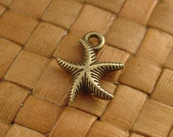 SALE:  20 pcs Antiqued Bronze Starfish Charms (13x17 mm) - 10% Off