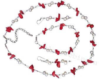Red coral and pearl necklace bracelet and earrings