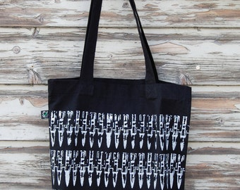 "Organic Tote Bag ""bullets black"" punk DIY screen-print white eco"