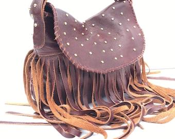 Leather Fringe Bag, BoHo Leather Fringe Bag, Leather Fringe Hobo, Leather Hobo Purse, Fringe Leather Bag, Decorative Leather Fringe Purse