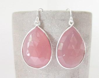Rose Chalcedony Silver Earrings - Gemstone Earrings - Drop Earrings - Silver Earrings - Chalcedony Jewelry