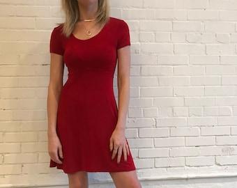 Vintage 90s Lipstick Red Slinky Skater Dress by DCI