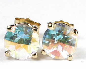 Mercury Mist Topaz, 14KY Gold Post Earrings, E012