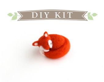 DIY Kit - Sleeping Fox Needle Felting Kit - Needle Felted Animal Kit
