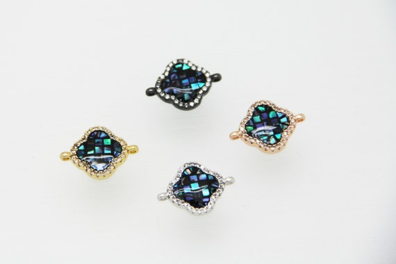 Abalone Mosaic With CZ Micro Pave 14mm Clover Connectors