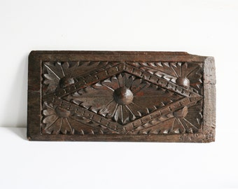 16th century French carved wood panel, antique hand carved oak antique home decor, architectural salvage