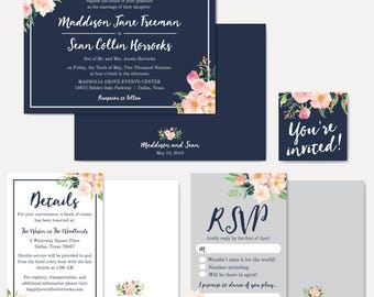 Navy Blue and Blush Floral Wedding Invitation Suite, Online Wedding Invite Template, Affordable Wedding Invitation Package, Hadley Designs