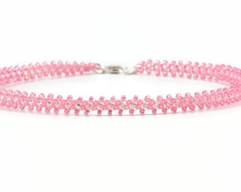 Pink Anklet - Beaded Chain Anklet - Seed Bead Ankle Bracelet - Beadwork Jewelry - Summer Anklet - Seed Bead Jewelry