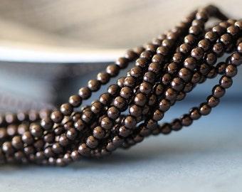 3mm, Round Druk, Chocolate Bronze, Czech Glass, Beads, Smooth, Round, Tiny, Seed Beads, 10 inch strand