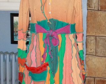Sparkling Bejeweled Hand Crafted Pixie Fairy Sweater Coat Created From Upcycled Repurposed Recycled Sweaters