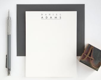 Custom Letterpress Stationery Set - Personalized Note Cards - Modern Premiere
