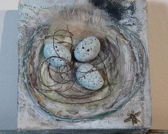 OOAK Mixed Media Canvas Birds Nest
