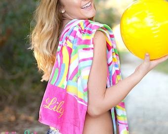 Monogrammed Summer Sorbet Beach Towel, Personalized Beach Towel, Pink Beach Towel, Beach Blacket, Pool Towel, Beach Towel