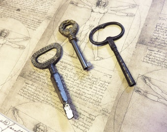 antique keys, large iron keys, 3 old keys, steampunk keys, clock keys, victorian ornate keys, iron keys, brass keys  (S-37)