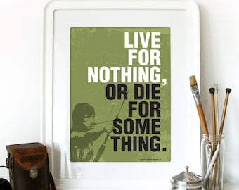 RAMBO Poster Movie Print Typography Art Poster in Army green Live for nothing, or Die for something from Rambo poster art print Rambo Poster