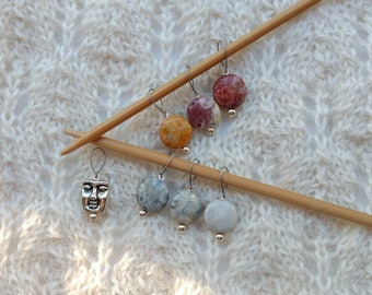 Knitting Stitch Markers - Sky Eye Jasper - snag free loops - 12mm round gemstones and silver - set of 7 - two loop sizes available