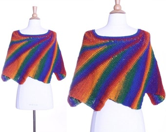 80s rainbow so bright shawl scarf cape thing - one size