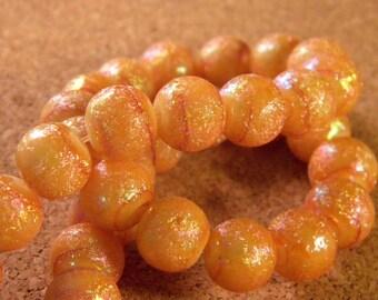 20 glitter - AB glass beads 10 mm - honey - PE113