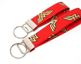 Wonder Women FOB - Key Chain / Key Fob / Wristlet - Choose Your Fabric and lenght