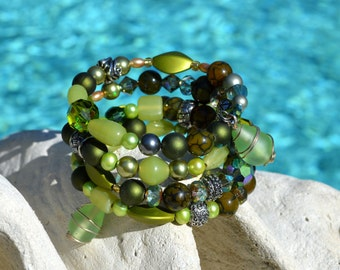 Summer Greens beads and sea glass Memory 5 Wire Bracelet with matching earrings.