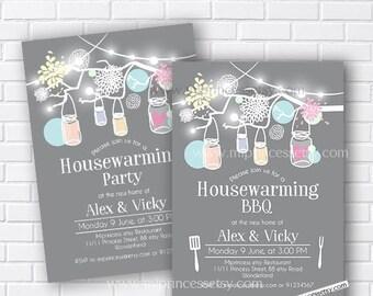 housewarming party, bbq party, rustic housewarming, floral housewarming, rustic housewarming, New house Mason Jar  BBQ party  - card 616