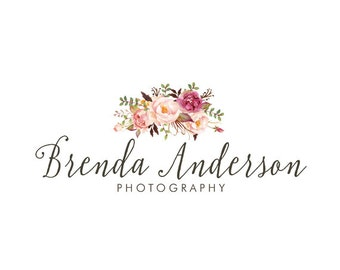 Photography logo premade logo design floral bouquet logo flowers logo bohemian logo business logo custom logo design