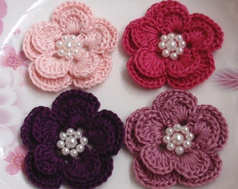4 Crochet Flowers With Pearls YH-160-02