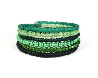 Green Memory Wire Bracelet, Beaded Wrap Bracelet, Glass Pearl Bracelet, Maple Leaf Charm Crystal Bead Bracelet, Jewelry Gifts Under 25