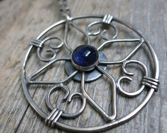 Mandala : Shadehouse necklace ... metalwork / sterling silver / blue sapphire